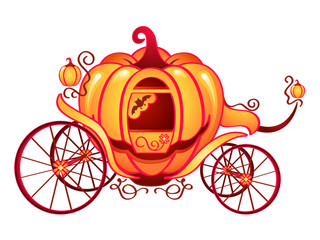 Pumpkin carriage for Cinderella or Halloween cards
