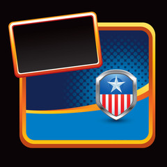 Patriotic icon in orange framed stylized banner