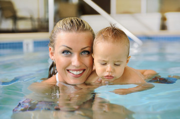 Mother and Child in a Swimming Pool