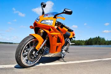 Foto op Canvas Snelle auto s Single motorcycle parking