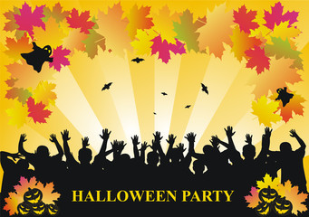 Halloween background with partying people