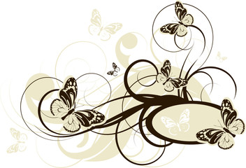 Floral abstract illustration with butterflies