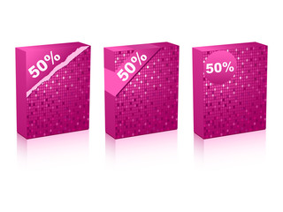 fifty percent discount on box vector illustration