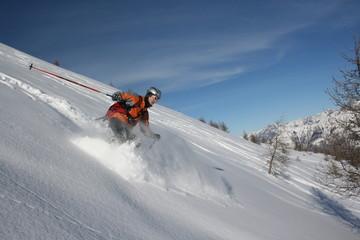 Sciatore neve fresca