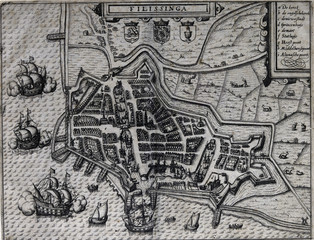 Old map of Vlissingen, The Netherlands, 17th century