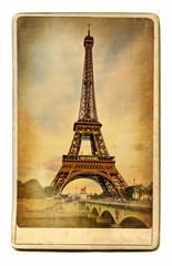 Fototapete - european landmarks vintage cards - Paris