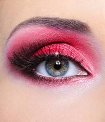 Make-up of woman eye with red  eyeshadow