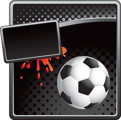 Black halftone soccer ball banner template