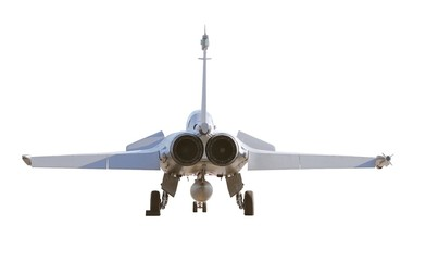 French fighter aircraft Dassault Rafale landed isolated on white
