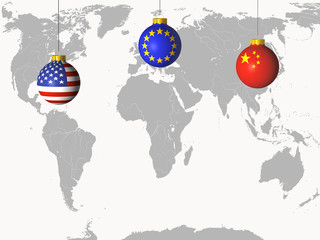 christmas balls with different flags and map of the world