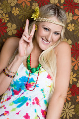 Hippie Girl Giving Peace Sign