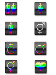 Various Gender symbols in rainbow colours