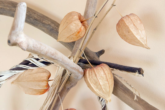 decoration with dry physalis