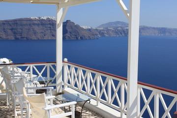 Terrasse à Oia avec vue sur la Caldeira - Cyclades - Grèce
