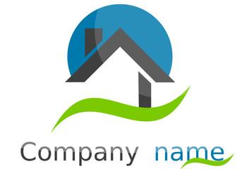 Logo maison rond vague bleu vert gris