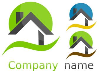 Logo maison rond vague couleurs gris