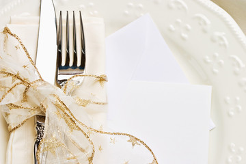 Holiday place setting with blank card for your text