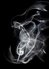 Beautiful white smoke curves abstract