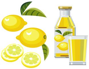 Lemon juice with bottle, glass and lemons