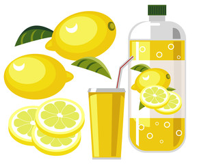 Lemonade with bottle, cup, straw and lemons