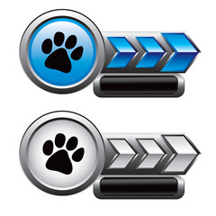 Pawprint on blue and white arrow templates