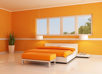modern orange bedroom