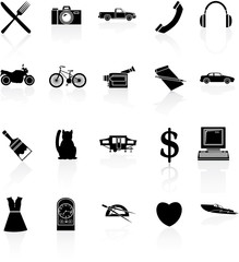 black and white icons set