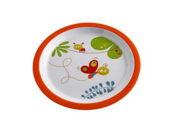 Assiette pour enfant sur fond blanc