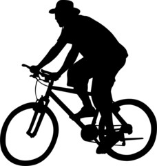 silhouette of bicyclist - vector