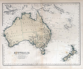 Fototapete - Old map of Australia & New Zealand, 1870