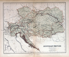 Old map of Austria, Hungary, Czech Republic, Slovakia 1870