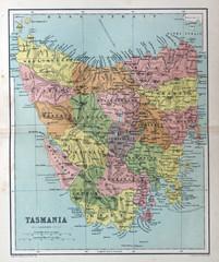 Old map of Tasmania, Australia, 1870