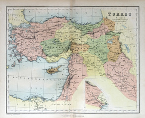 Old map of Turkey, 1870