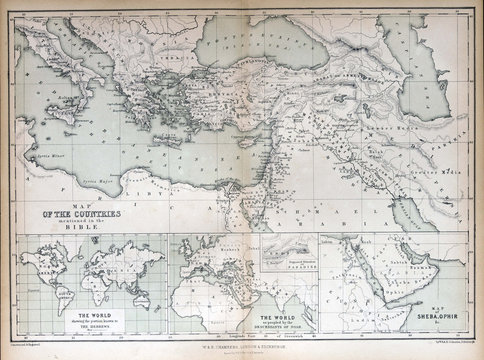 Old map of countries mentioned in the Bible, 1870