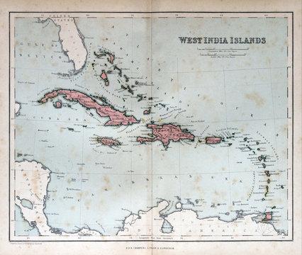 Old map of West India Islands, 1870. Bahamas, Haiti, Puerto Rico