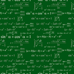Seamlessly wallpaper mathematics on green blackboard