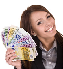 Happy woman with group of money. Isolated.
