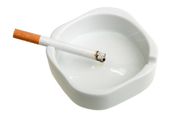 White ashtray with cigarette.