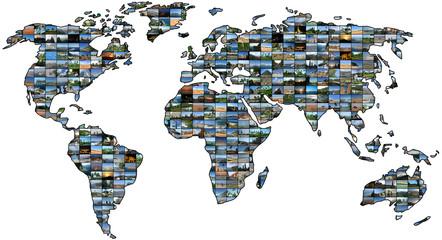 Weltkarten Collage