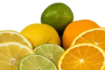 Orange, Limette, Zitrone freigestellt