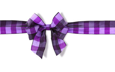 Violet bow isolated on white background