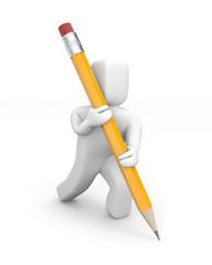 Person writes pencil