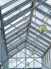 Metal and glass translucent roof zenith skylight structure.