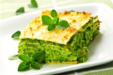 Fototapeta Plate of vegeterian lasagna obraz