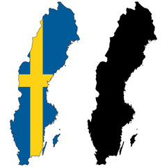 vector  map and flag of sweden