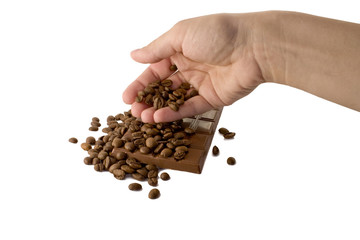 hand and coffee beans