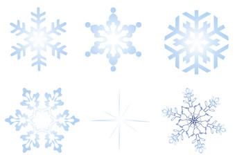 Eiskristalle und Schneeflocken freigestellt