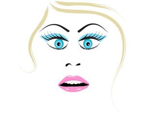 Beautiful woman face - vector illustration