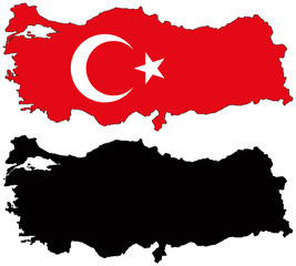 vector  map and flag of turkey