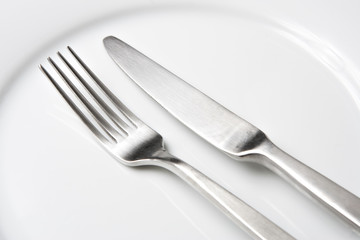 Fork and Knife on White Plate